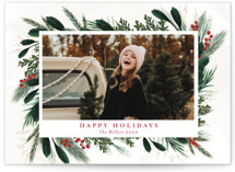 This is a green petite holiday card by Susan Moyal called Happy Holiday with standard printing on smooth signature in petite.