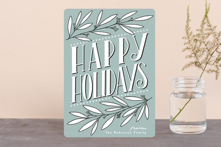 """Botanical Deco"" - Vintage Holiday Petite Cards in Ocean by Everett Paper Goods."
