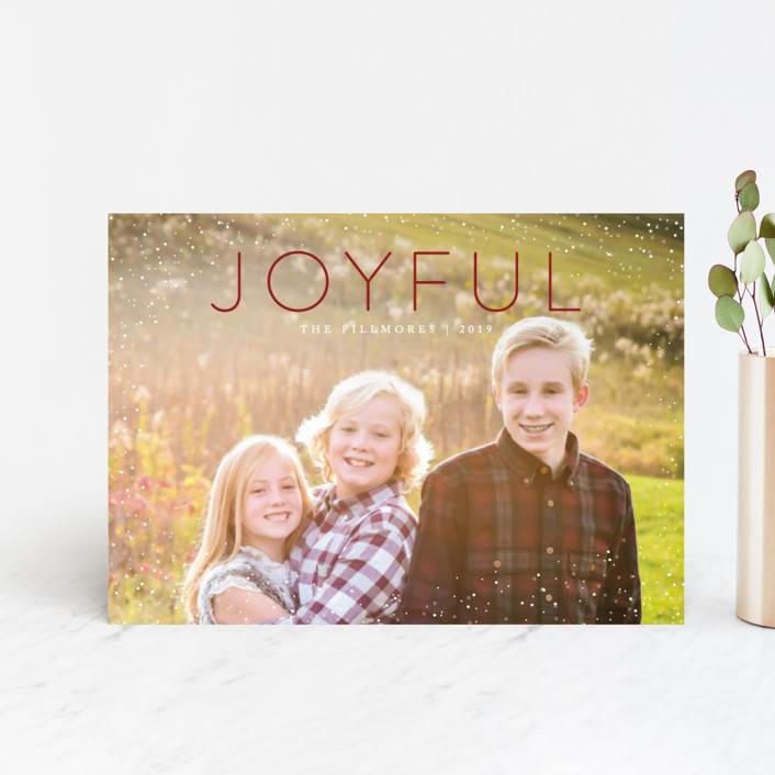 """Joyful"" - Holiday Petite Cards in Cranberry by Kate Sorensen."
