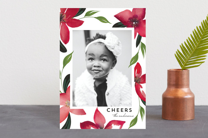 """Washed Poinsettias"" - Holiday Petite Cards in Crimson by Susan Moyal."