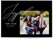 This is a black petite holiday card by Nicoletta Savod called New Year Elegance with standard printing on signature in petite.