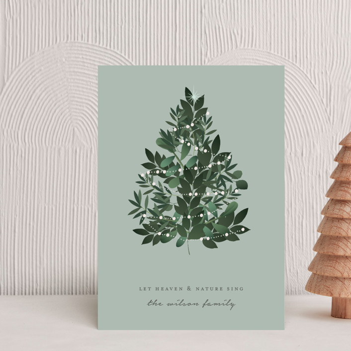 Heaven And Nature Customizable Holiday Petite Cards In Green By Bonjour Berry