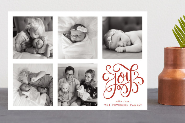"""Curly Joy"" - Holiday Petite Cards in Scarlet by Little Words Design."