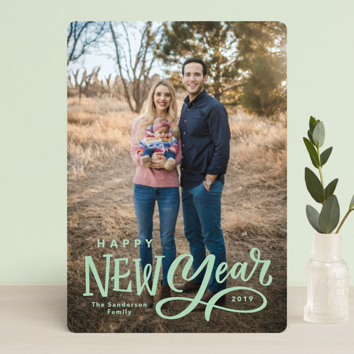 """""""Lettered New Year"""" - Holiday Petite Cards in Milk by Kristen Smith."""