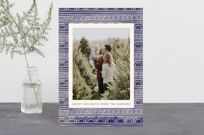"""Painted Scalloped Border"" - Bohemian Holiday Petite Cards in Plum by Katharine Watson."
