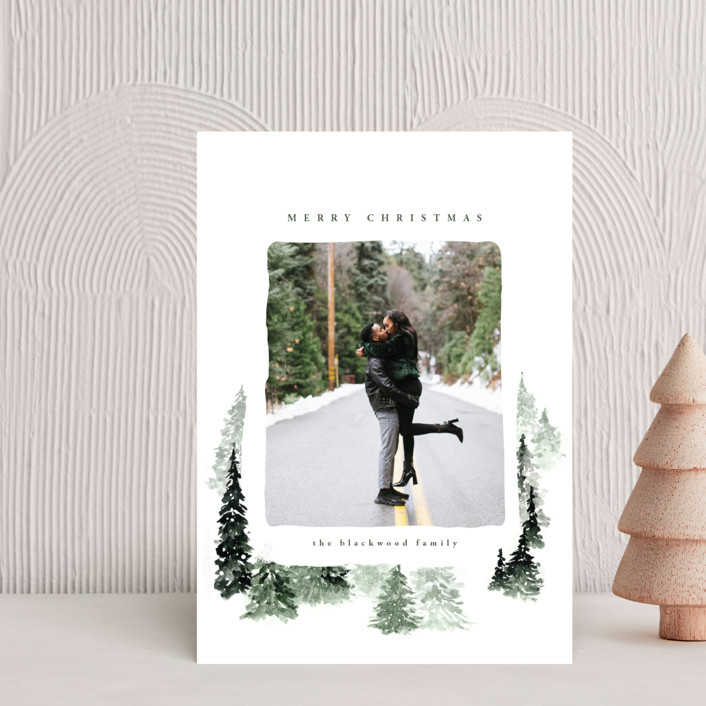 """fall of snow"" - Bohemian Holiday Petite Cards in Evergreen by Anastasia Makarova."