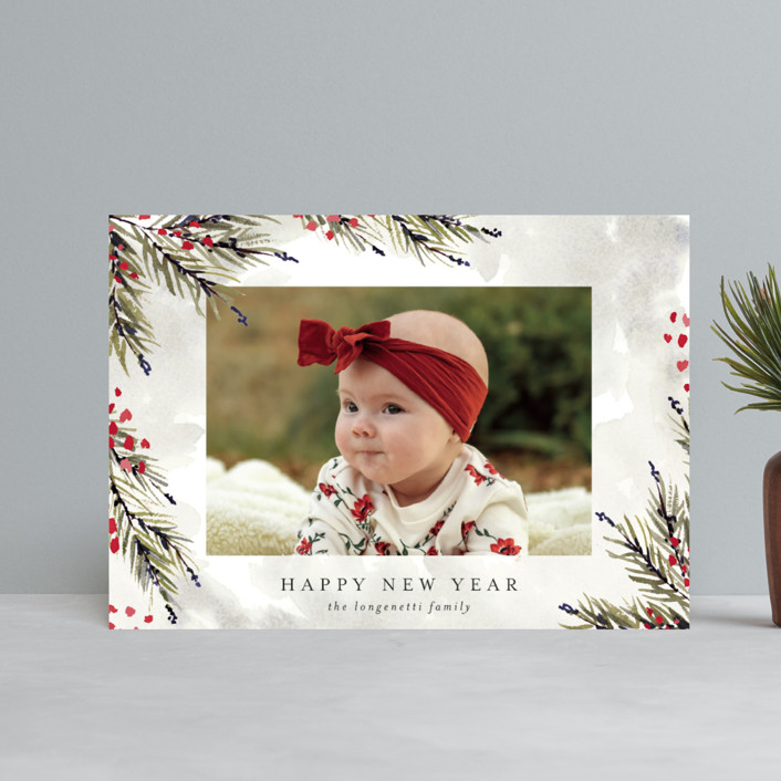 """""""Pine and Berry Study"""" - Holiday Petite Cards in Berry by Chris Griffith."""