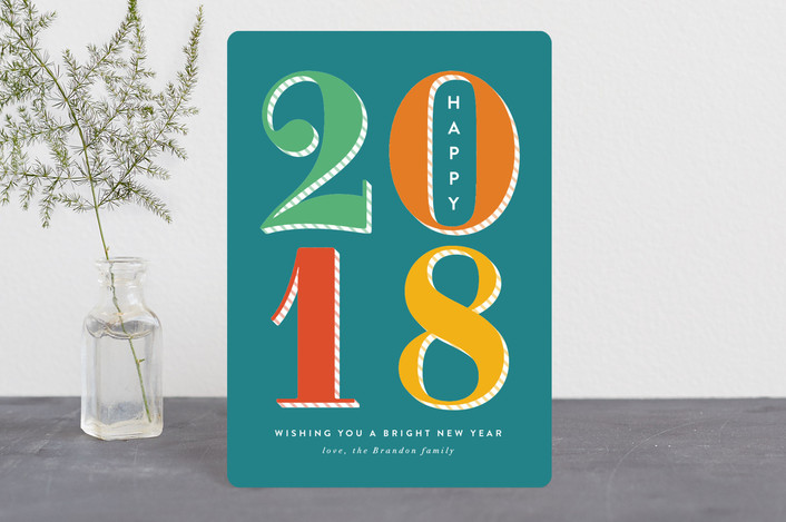 """""""Bright New Year"""" - Holiday Petite Cards in Aqua by Amy Payne."""