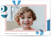This is a blue petite holiday card by Pixel and Hank called Bright and Bold Year with standard printing on smooth signature in petite.