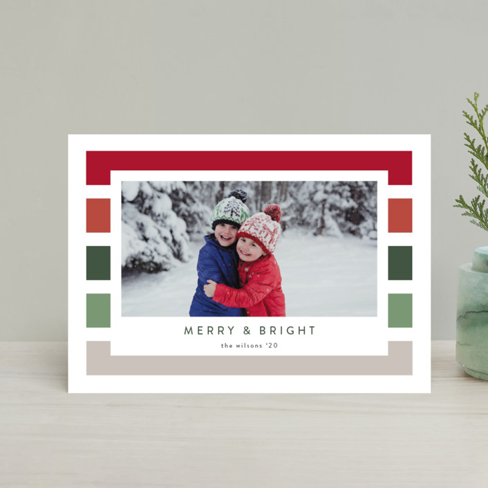 """Holiday Stripe"" - Modern Holiday Petite Cards in Cranberry by Kasia Labocki."