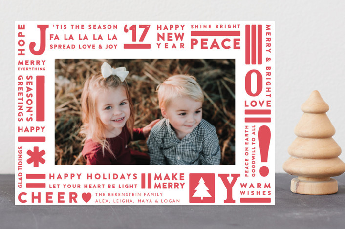 """Joy Type"" - Holiday Petite Cards in Cherry by Snow and Ivy."