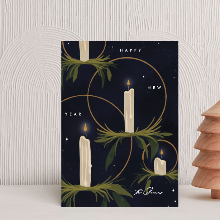 """""""Candlelight"""" - Holiday Petite Cards in Navy by Erin L. Wilson."""