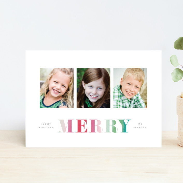 """Merry Dip Dye"" - Holiday Petite Cards in Rainbow by Hooray Creative."