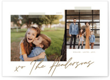 This is a brown petite holiday card by That Girl Press called Snapshots with standard printing on smooth signature in petite.