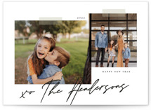 This is a black and white petite holiday card by That Girl Press called Snapshots with standard printing on smooth signature in petite.