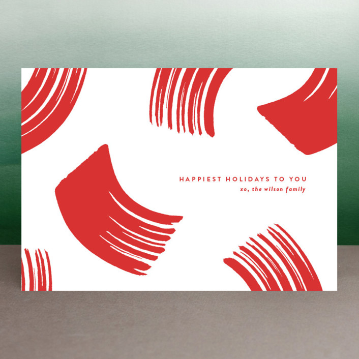 """""""Peppermint"""" - Modern Holiday Petite Cards in Peppermint Stick by Oscar & Emma."""