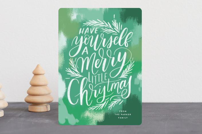 """Brush Stroke Lettering"" - Holiday Petite Cards in Fern by Alethea and Ruth."