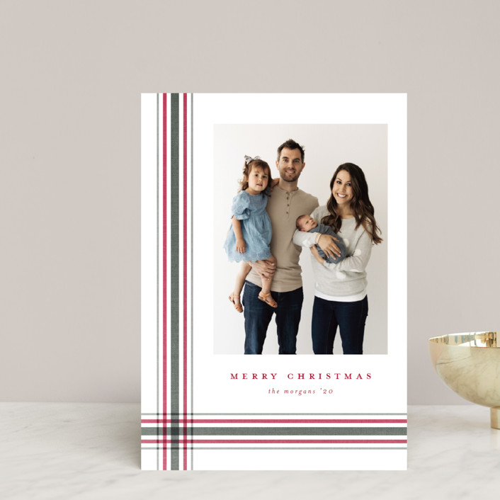 """""""Modern Plaid"""" - Holiday Petite Cards in Poinsettia by Stacey Meacham."""