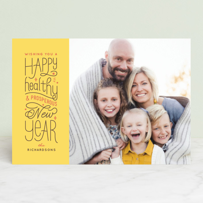 """""""A Healthy New Year"""" - Holiday Petite Cards in Maize by Four Wet Feet Studio."""