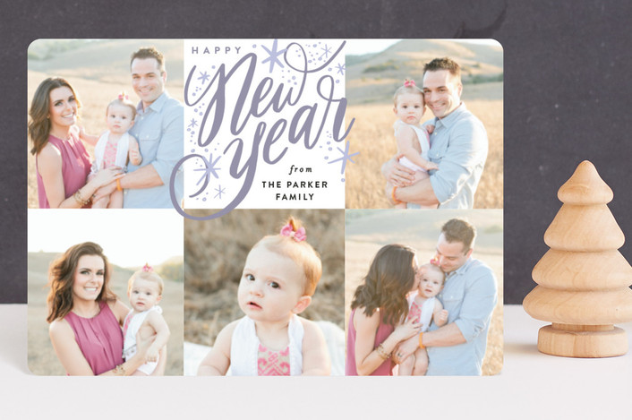 """""""New Year Square Sparkles"""" - Bohemian Holiday Petite Cards in Plum by Alethea and Ruth."""