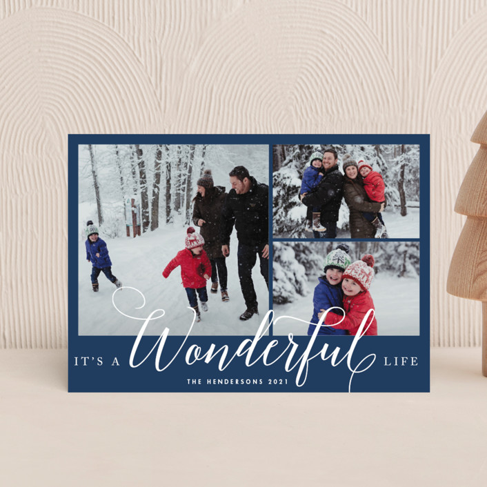 """""""A Wonderful Life"""" - Holiday Petite Cards in Navy by Qing Ji."""
