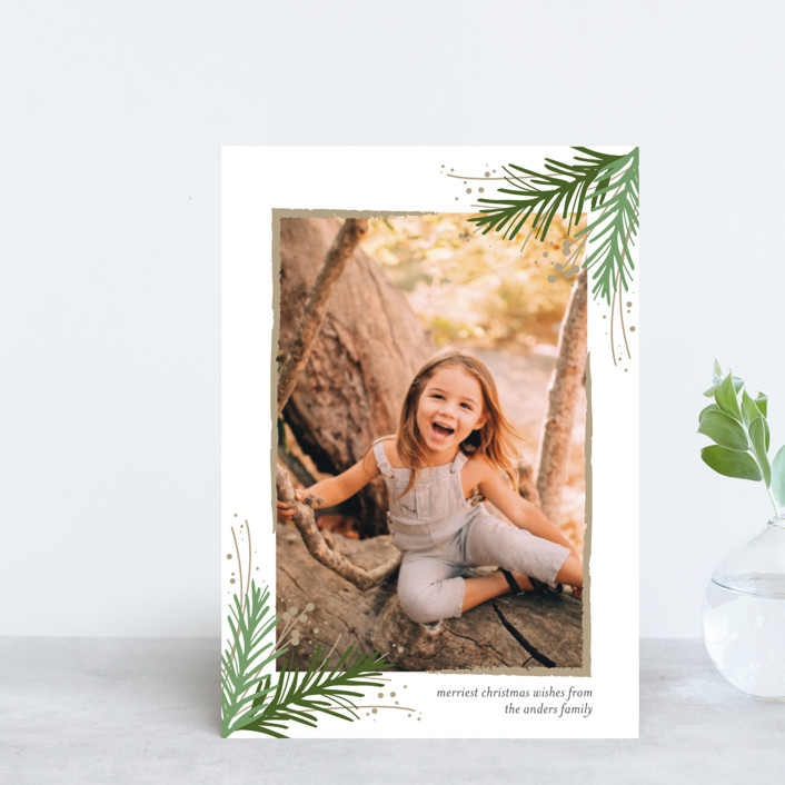 """Golden Evergreens"" - Holiday Petite Cards in Snowflake by Jessica Williams."