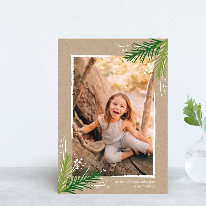 """""""Golden Evergreens"""" - Holiday Petite Cards in Snowflake by Jessica Williams."""