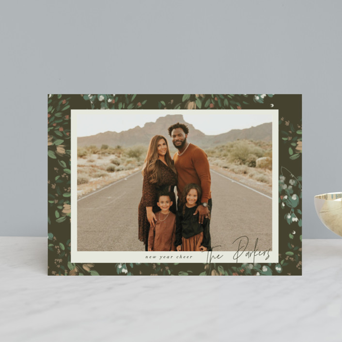 """""""Simple Floral Frame"""" - Holiday Petite Cards in Pine Forest by Grace Kreinbrink."""