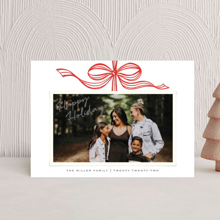 """Tied with a bow"" - Holiday Petite Cards in Crimson by SimpleTe Design."