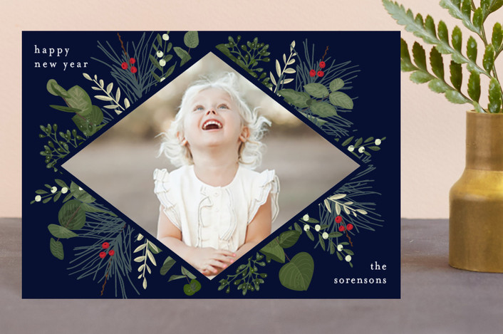 """""""Holiday Botanical"""" - Holiday Petite Cards in Marine by Chris Griffith."""