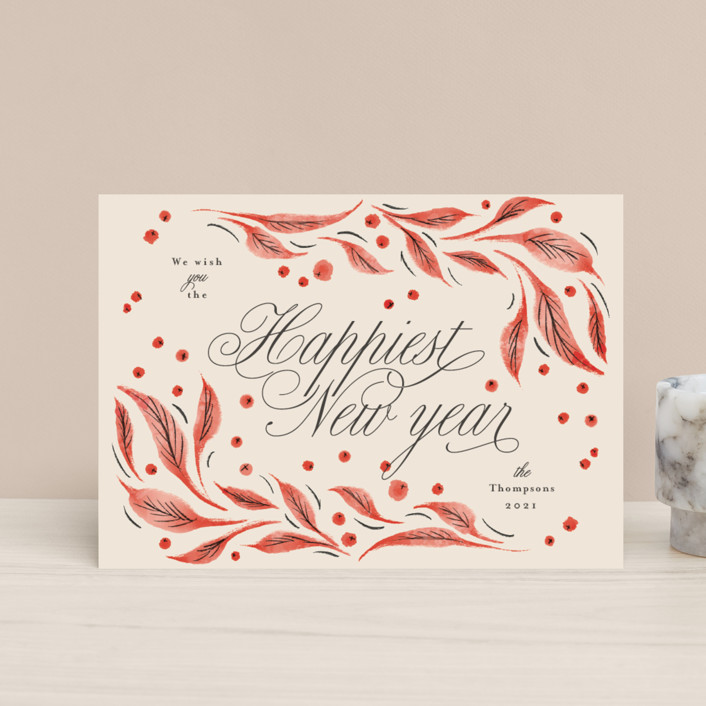 """""""Leaves and berries"""" - Vintage Holiday Petite Cards in Cranberry by Anastasia Makarova."""