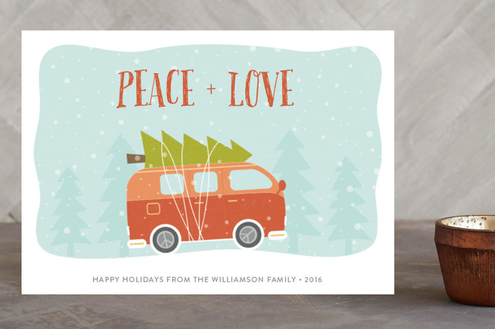 """Christmas Peace Van"" - Holiday Petite Cards in Persimmon by Chelsey Scott."