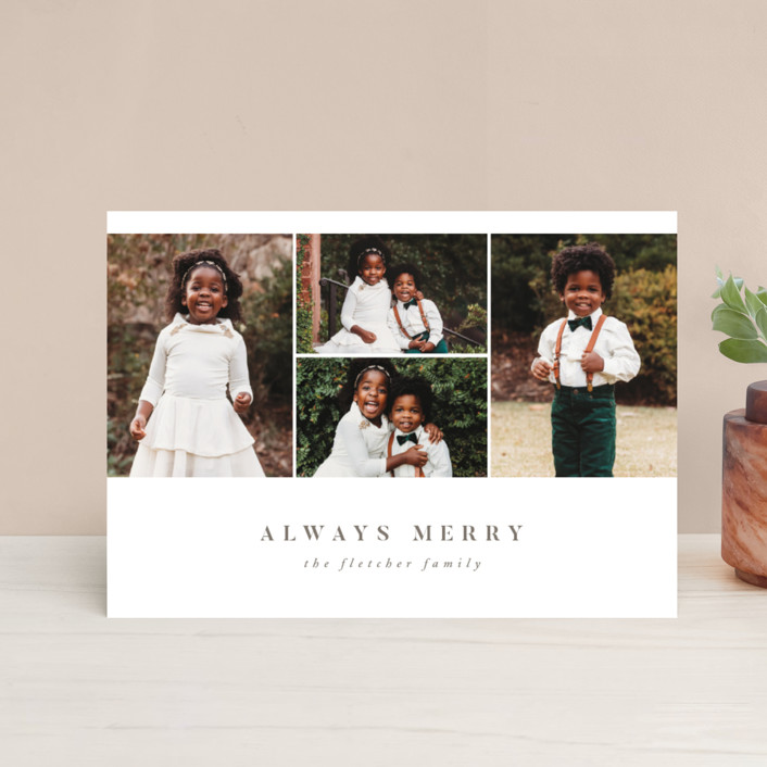 """Always Merry"" - Holiday Petite Cards in Slate by Ink and Letter."