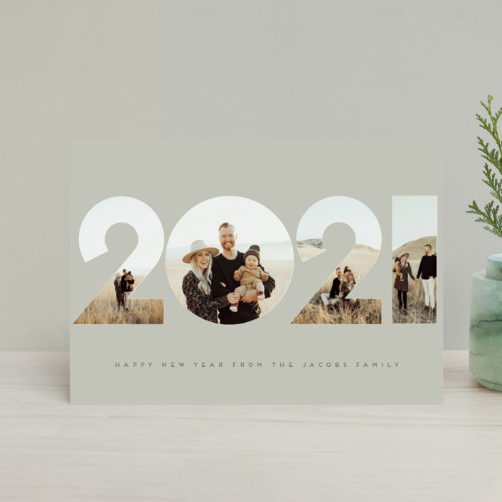 """It's Our Year"" - Modern Holiday Petite Cards in Tan by Nicole Walsh."