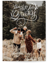 This is a white petite holiday card by Hannah Williams called Holly Jolly family with standard printing on smooth signature in petite.