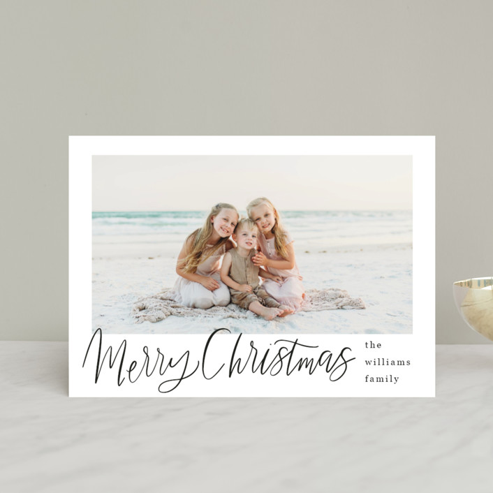 """Minimal Lettered Christmas"" - Holiday Petite Cards in Onyx by Alicia Schultz."