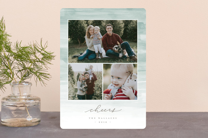 """""""Washed Strokes"""" - Bohemian Holiday Petite Cards in Mint by Everett Paper Goods."""