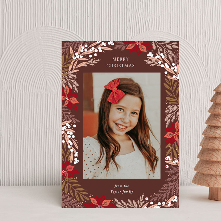 """""""Poinsettia Leaves Pattern"""" - Holiday Petite Cards in Wine by Alethea and Ruth."""