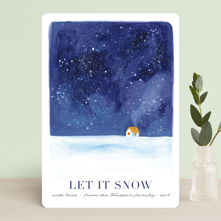 """Christmas eve"" - Holiday Petite Cards in Night Sky by Alexandra Dzh."