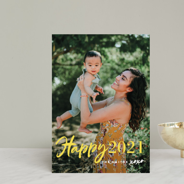 """""""New Year XOXO"""" - Modern Holiday Petite Cards in Lemon by Chryssi Tsoupanarias."""