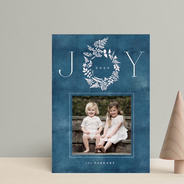 """Fern Wreath"" - Holiday Petite Cards in Indigo by Nazia Hyder."