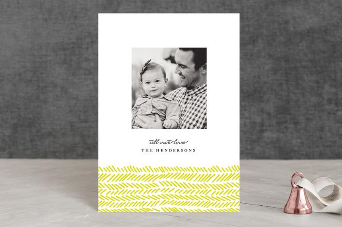 """Hand Drawn Herringbone"" - Holiday Petite Cards in Yellow by Olivia Kanaley."