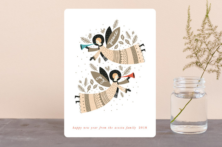 """Peace and Joy Angels"" - Vintage Holiday Petite Cards in Earth by Eve Schultz."