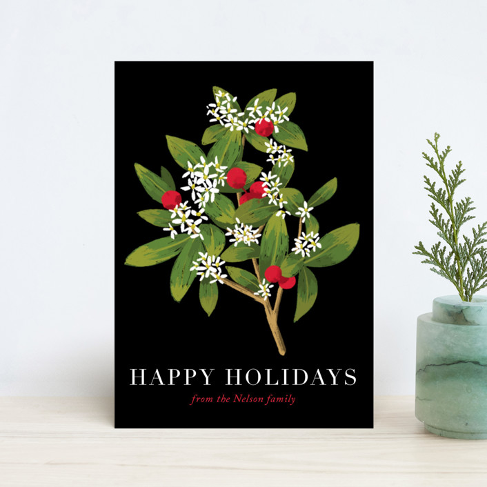 """""""Holiday foliage and flowers"""" - Holiday Petite Cards in Tuxedo by Alexandra Dzh."""