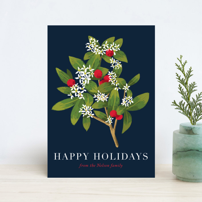"""""""Holiday foliage and flowers"""" - Holiday Petite Cards in Aqua by Alexandra Dzh."""