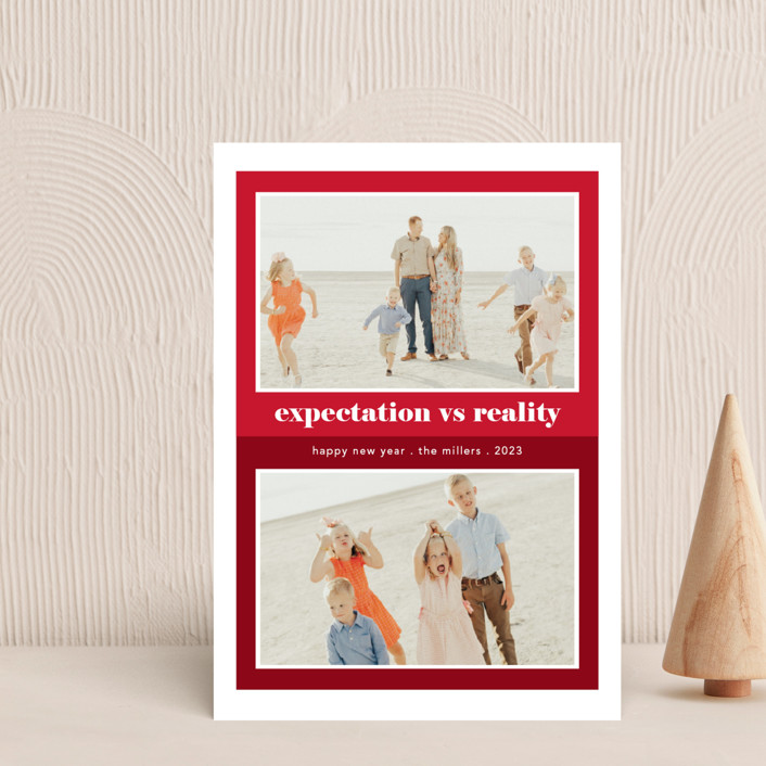 """""""Expectation vs Reality"""" - Funny Holiday Petite Cards in Ruby by Caitlin Considine."""