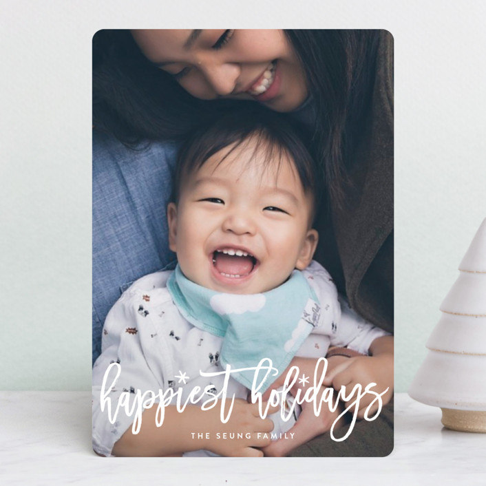 """""""Fun Holiday Script"""" - Holiday Petite Cards in Snow by Hooray Creative."""