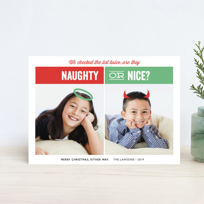 Naughty or Nice Holiday Petite Cards by Holly Whitcomb | Minted