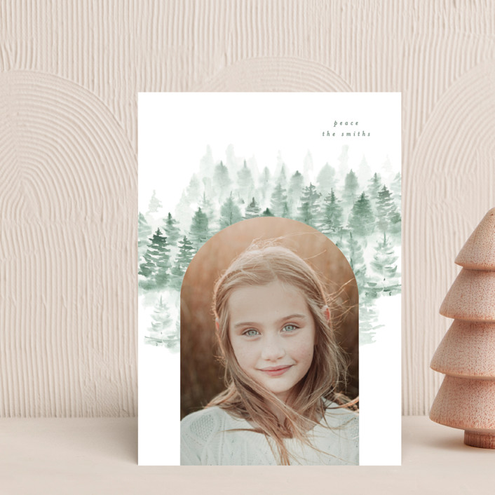 """""""snow mountains"""" - Holiday Petite Cards in Snow by Phrosne Ras."""