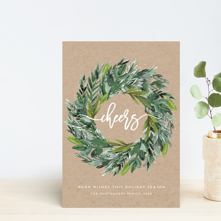 """""""Natural Pine Wreath"""" - Holiday Petite Cards in Kraft by Petra Kern."""